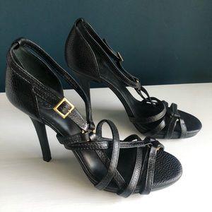 Tory Burch Elizabella Black Leather Strappy Heels